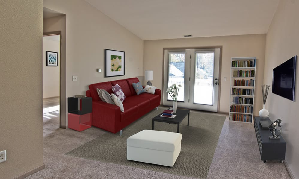 Spacious and beautiful living room at Steeplechase Apartments & Townhomes in Toledo, Ohio