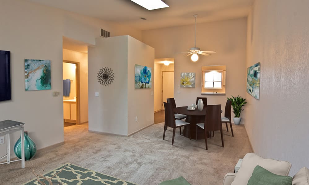 Living and dining room at Steeplechase Apartments & Townhomes in Toledo, Ohio