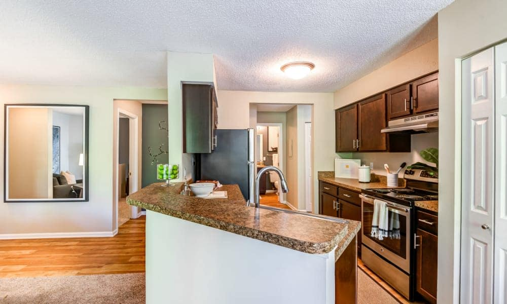 Bright kitchen at Beech Lake Apartments in Durham, NC