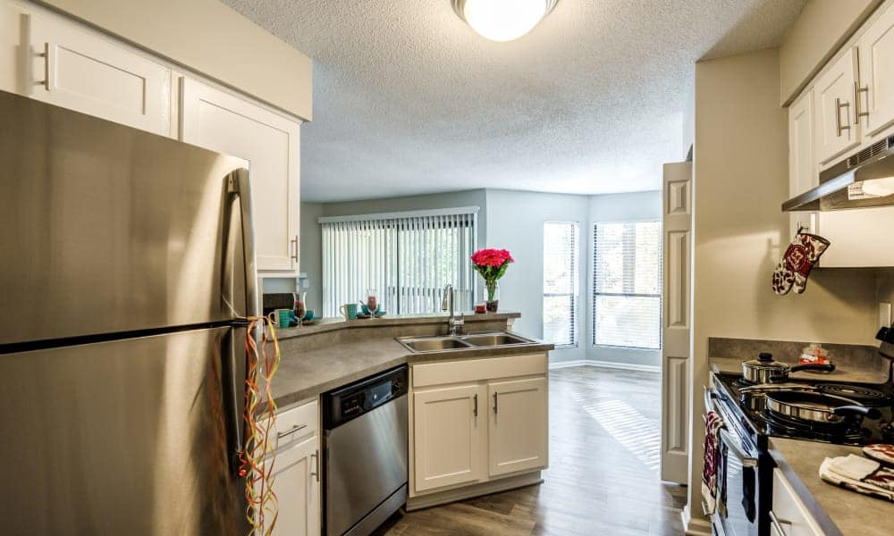 Stainless steel appliances at Beech Lake Apartments in Durham, NC