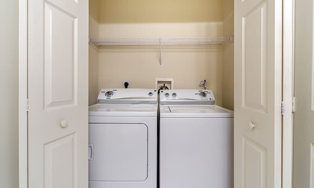 Washer and dryer in apartment at The Waterfront in Munhall, Pennsylvania
