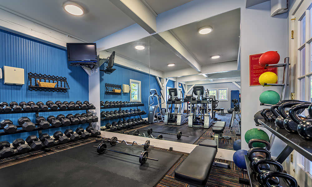 Well-equipped fitness center at The Waterfront in Munhall, Pennsylvania