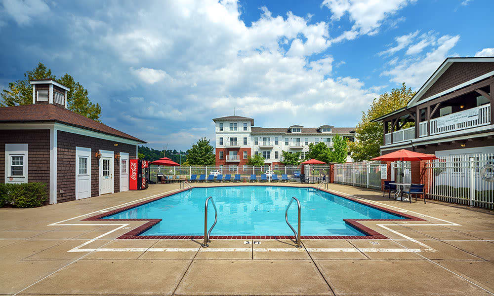 A sparkling pool at The Waterfront in Munhall, Pennsylvania