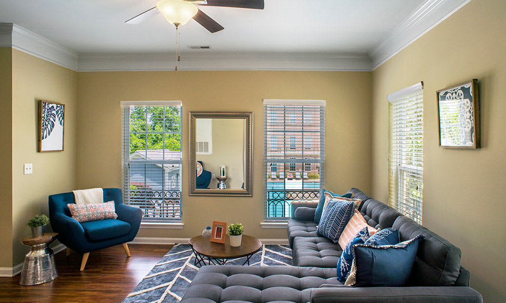 Spacious living room at Worthington Luxury Apartments in Charlotte, North Carolina