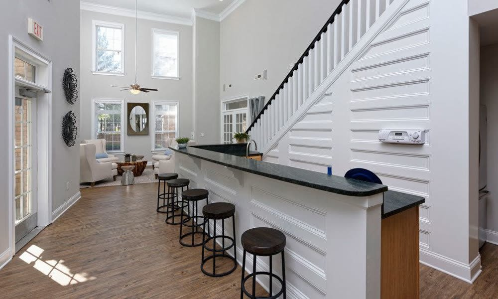 Clubhouse with bar seating at Worthington Luxury Apartments in Charlotte, North Carolina