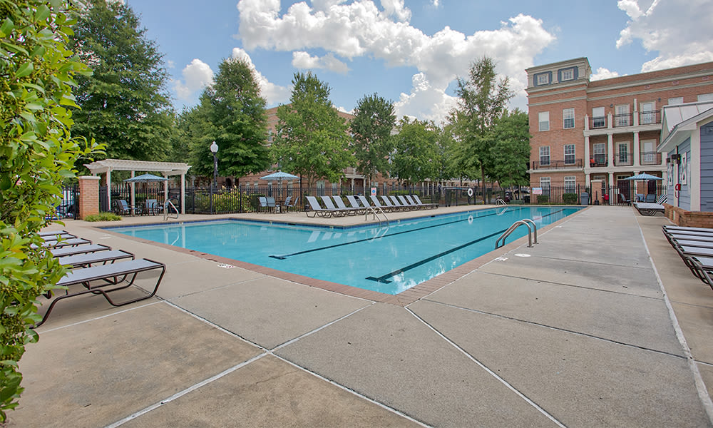 Beautiful swimming pool at Worthington Luxury Apartments in Charlotte, North Carolina