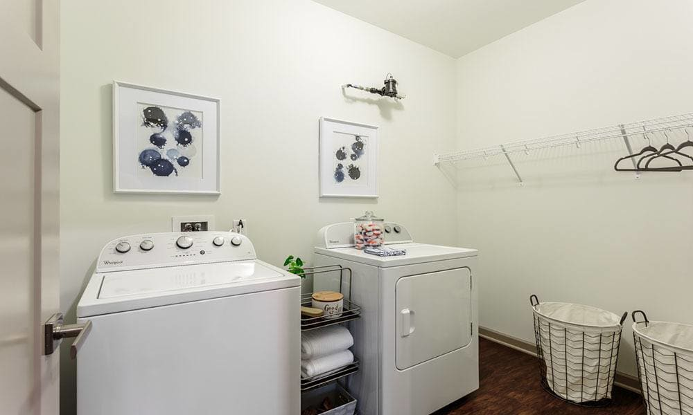 In-unit washer and dryer in a model home at GrandeVille at Malta in Malta, New York