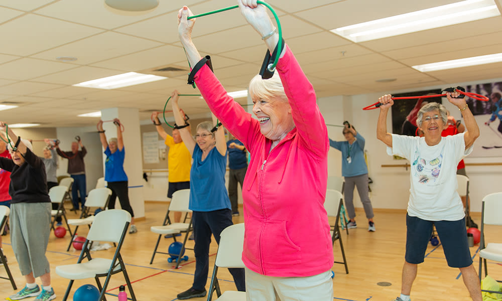 Residents exercising at Touchmark at Mount Bachelor Village in Bend, Oregon