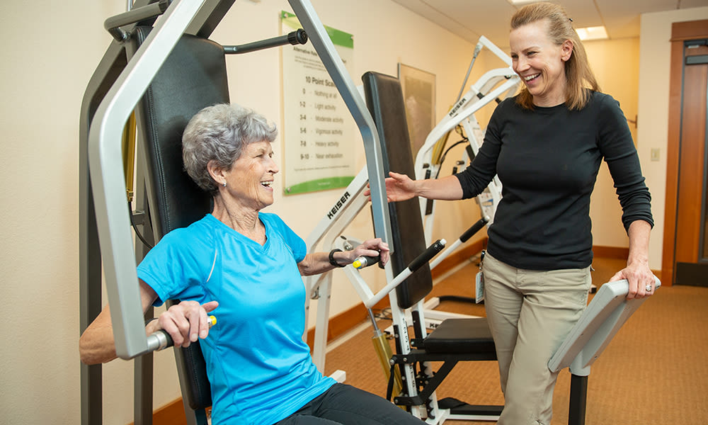 A resident from Touchmark at Mount Bachelor Village in Bend, Oregon working out