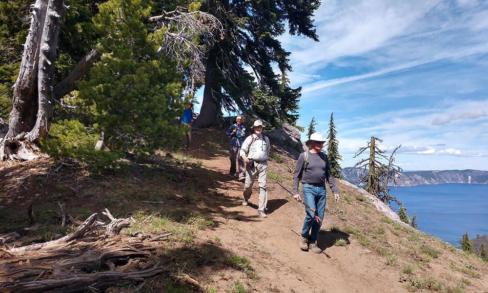 Residents hiking around Touchmark at Mount Bachelor Village in Bend, Oregon