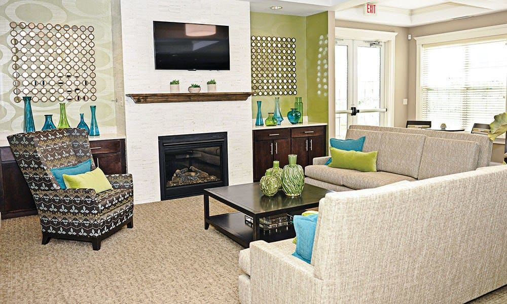 Spacious living room at Canal Crossing in Camillus, New York