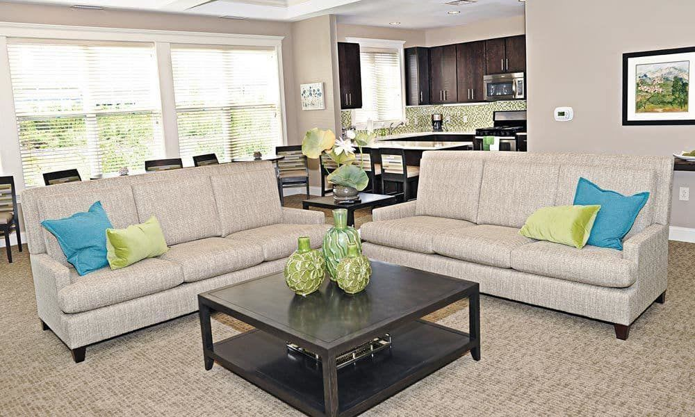 Cozy couches at Canal Crossing in Camillus, New York