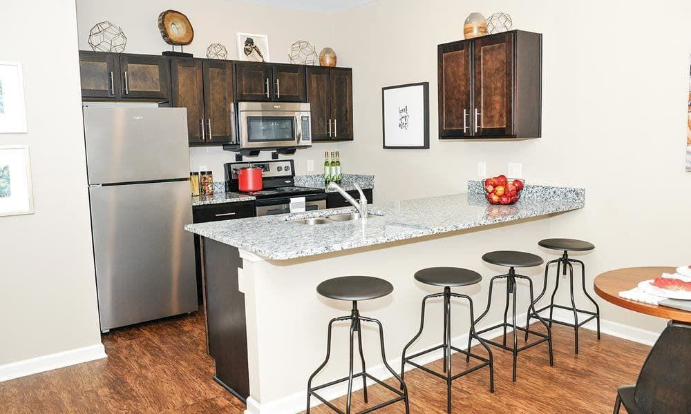 Fully-equipped kitchen at Canal Crossing in Camillus, New York