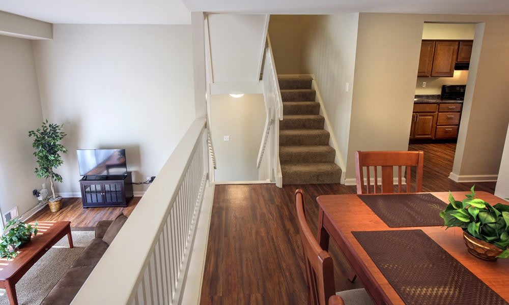 Wood-style flooring at Nineteen North Apartments in Pittsburgh, Pennsylvania
