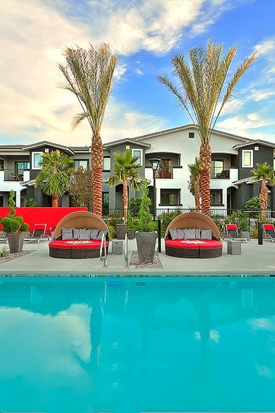 View of beautiful swimming pool area at SW Apartments in Las Vegas