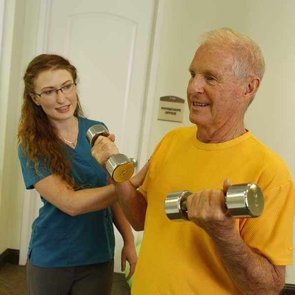 Independent living resident doing physical therapy at Discovery Village At Dominion in San Antonio, Texas