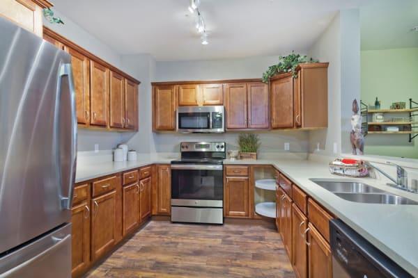 A resident kitchen at Aurora on France in Edina, Minnesota