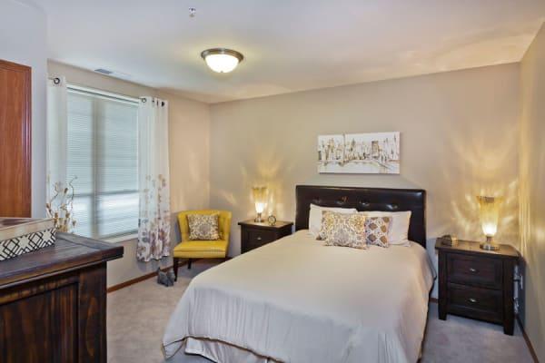 A resident bedroom at Aurora on France in Edina, Minnesota