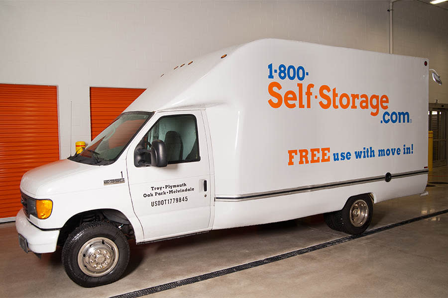 Moving truck at 1-800-Self-Storage.com in Troy, Michigan