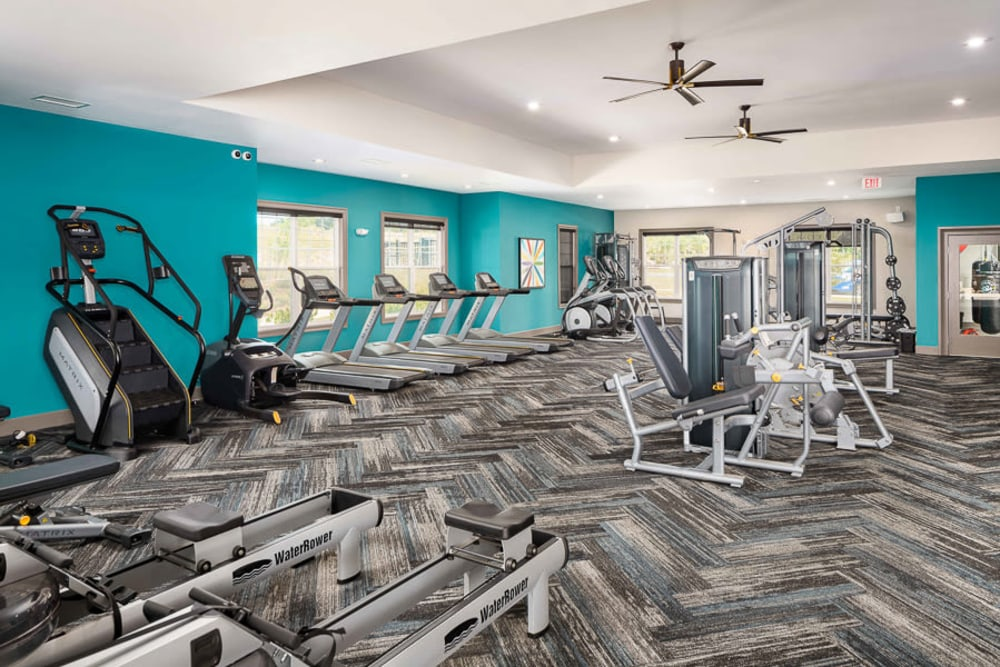 Fitness center at The Crest at Flowery Branch in Flowery Branch, Georgia