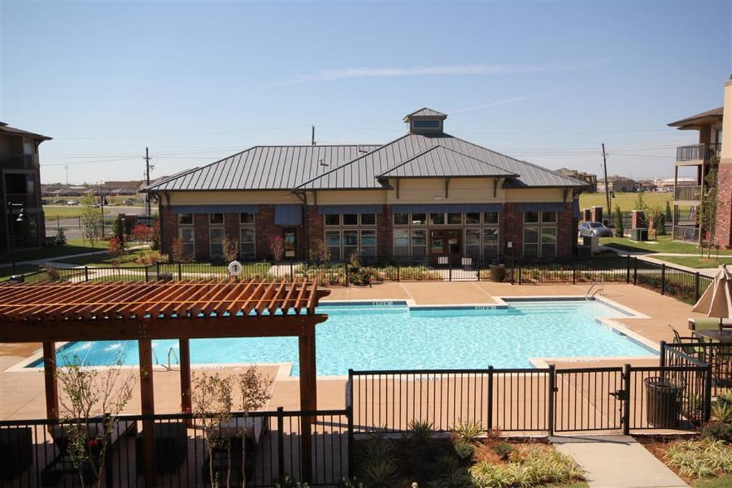 Sparkling swimming pool at The Icon at Lubbock in Lubbock, Texas
