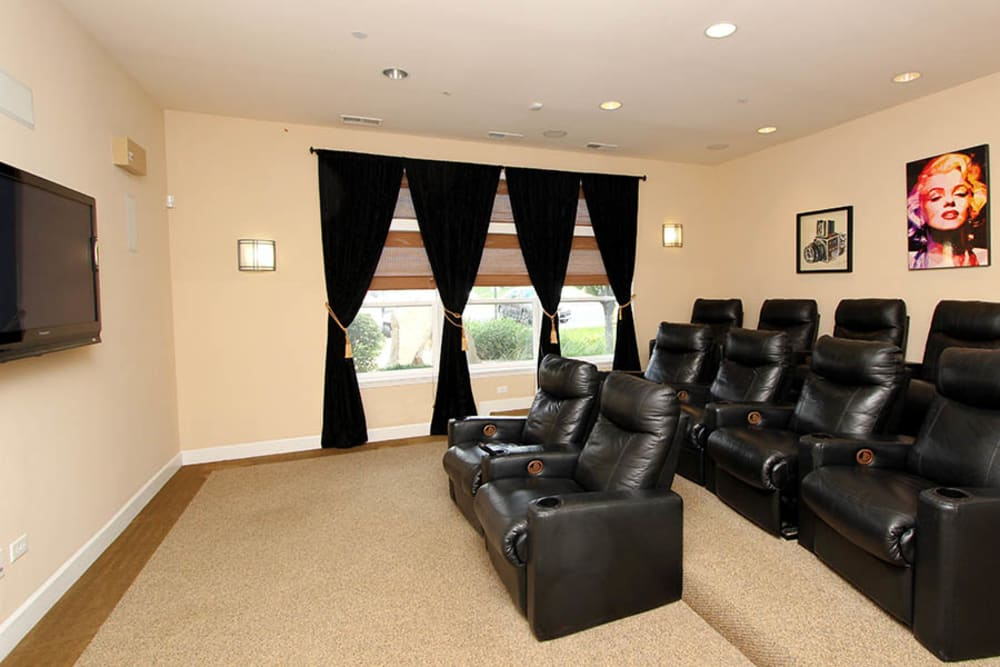 Theater room at Riverstone Apartments in Bolingbrook, Illinois