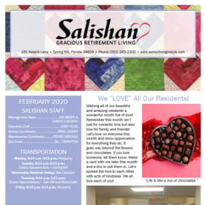 February Salishan Gracious Retirement Living newsletter