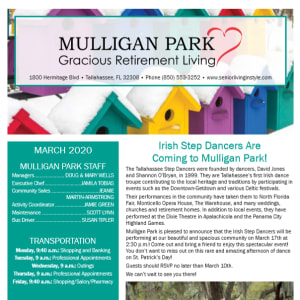 March Mulligan Park Gracious Retirement Living newsletter