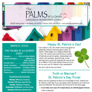 March The Palms at LaQuinta Gracious Retirement Living newsletter