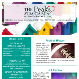 March The Peaks at Santa Rita newsletter