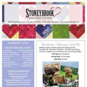 February Stoneybrook Assisted Living newsletter