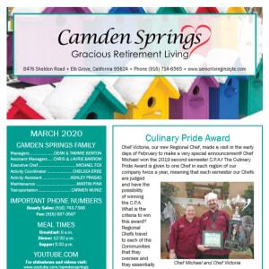 March Camden Springs Gracious Retirement Living newsletter