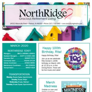 March Northridge Gracious Retirement Living newsletter
