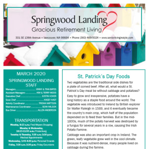 March Springwood Landing Gracious Retirement Living newsletter