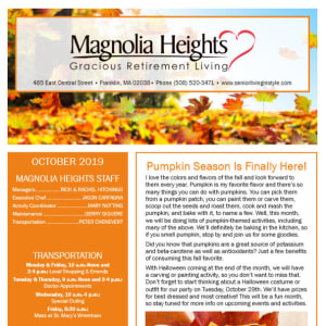 October Magnolia Heights Gracious Retirement Living Newsletter