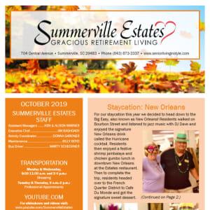 October Summerville Estates Gracious Retirement Living Newsletter