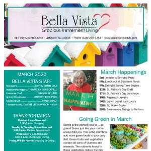 March BellaVista Gracious Retirement Living newsletter