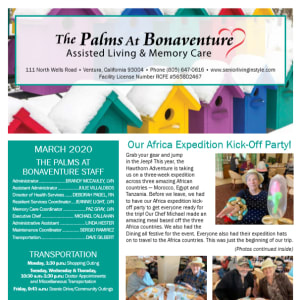 March The Palms at Bonaventure Assisted Living and Memory Care newsletter