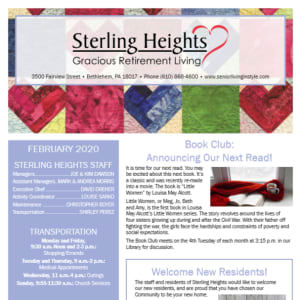 February Sterling Heights Gracious Retirement Living newsletter