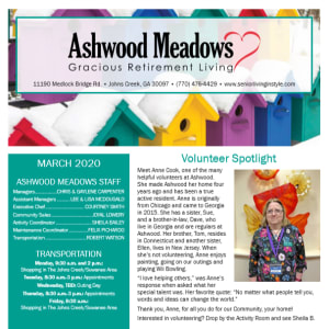 March Ashwood Meadows Gracious Retirement Living newsletter