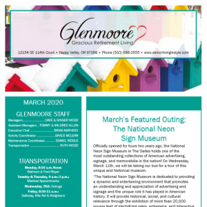 March Glenmoore Gracious Retirement Living Newsletter