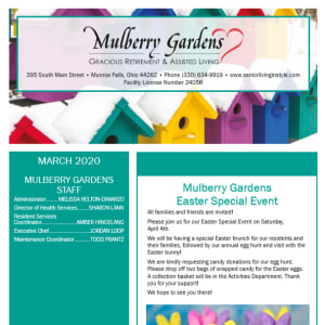 March Mulberry Gardens Assisted Living Newsletter