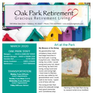 March Oak Park Retirement newsletter