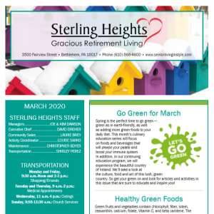 March Sterling Heights Gracious Retirement Living newsletter