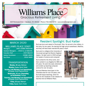 March Williams Place Gracious Retirement Living newsletter