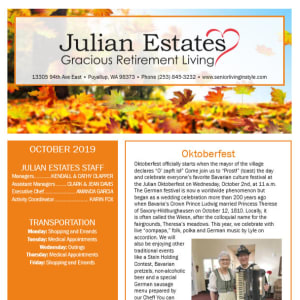 October Julian Estates Gracious Retirement Living Newsletter
