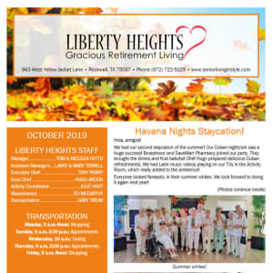 October Liberty Heights Gracious Retirement Living Newsletter