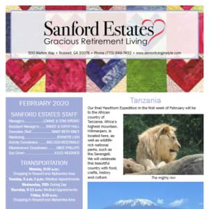 February Sanford Estates Gracious Retirement Living newsletter