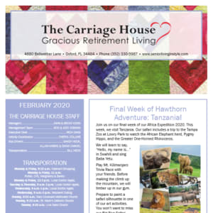February The Carriage House Gracious Retirement Living newsletter