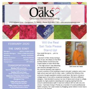 February The Oaks Gracious Retirement Living newsletter